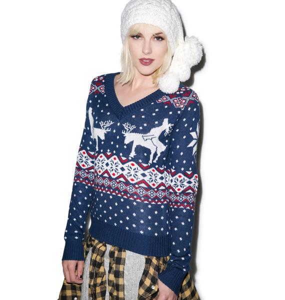 Tipsy Elves Reindeer Climax Vneck Sweater