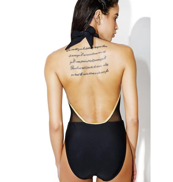 Jaded London Choker Plunge Applique One Piece