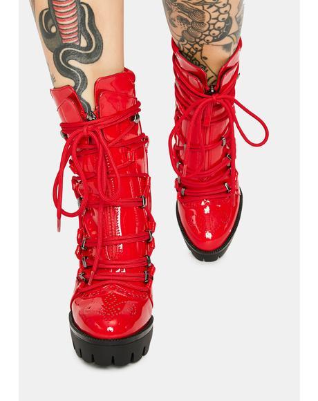 Johnson Patent Platform Ankle Boots