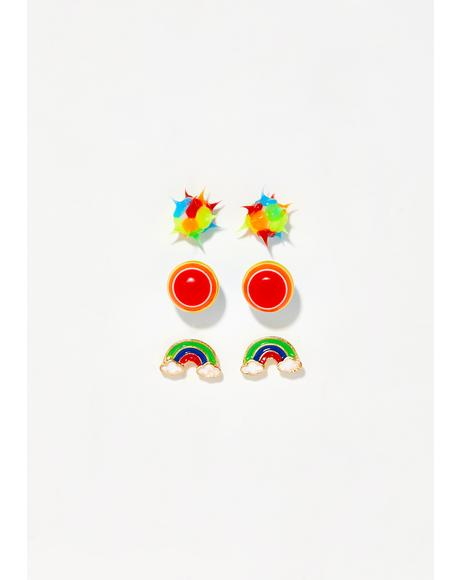 Ravin' Rainbow Earring Set
