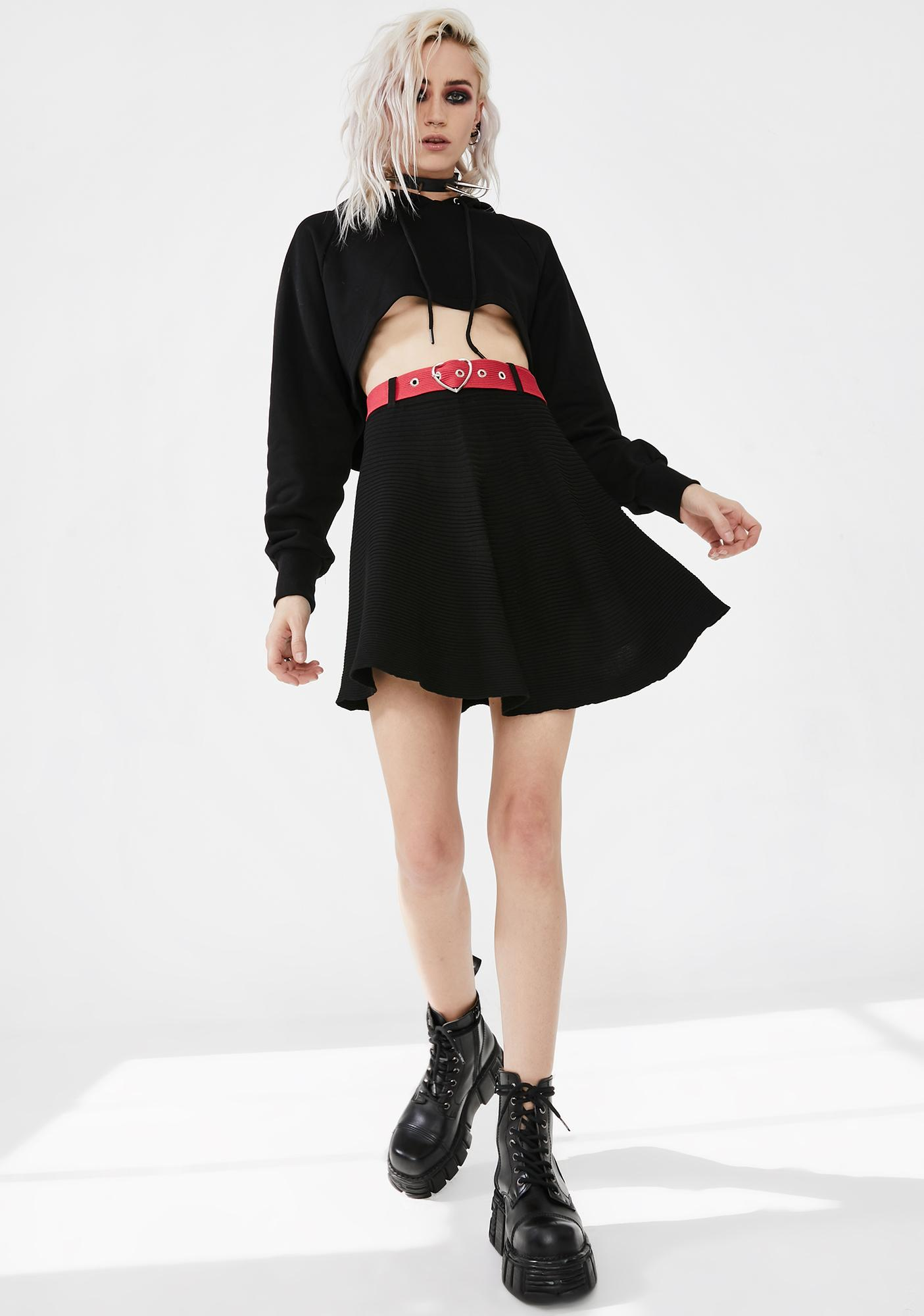 Punk Rave Woolen Red Heart Belted Half Skirt