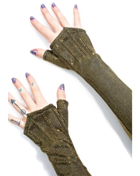 Gilded Long Opera Gloves