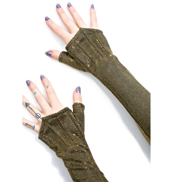 Five and Diamond Gilded Long Opera Gloves