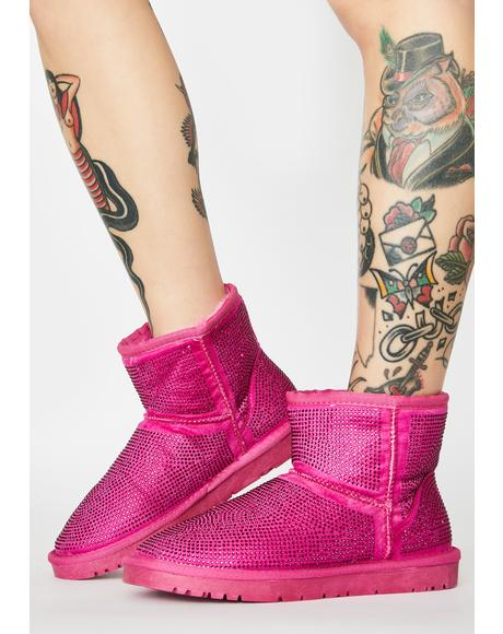 Pink All Night Long Rhinestone Ankle Boots