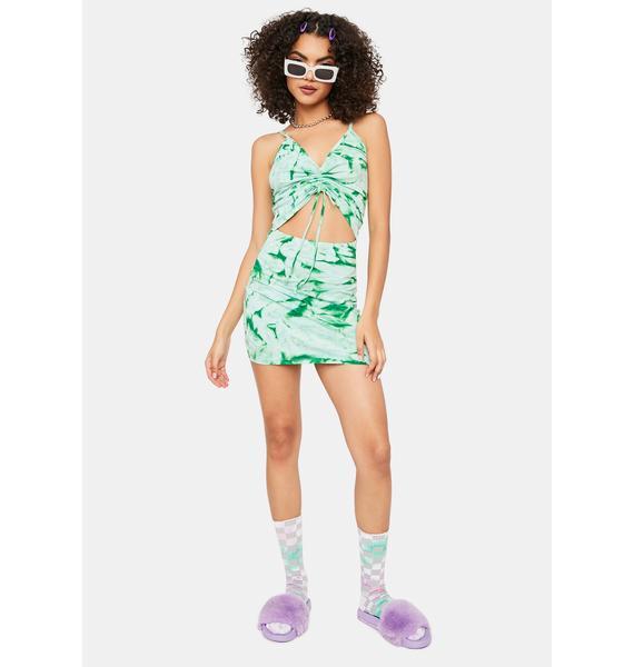 Cute Mistake Green Tie Dye Ruched Mini Dress