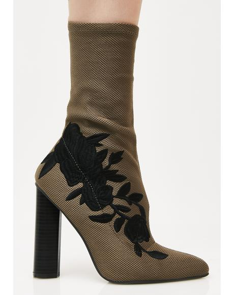 Khaki Steal Your Heart Embroidered Boots