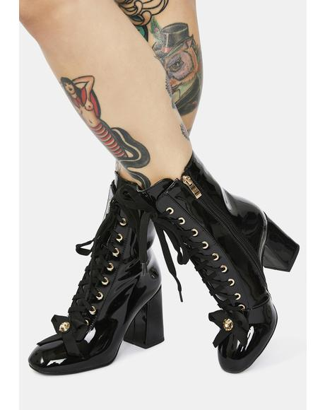 Black The One I Want Lace Up Boots
