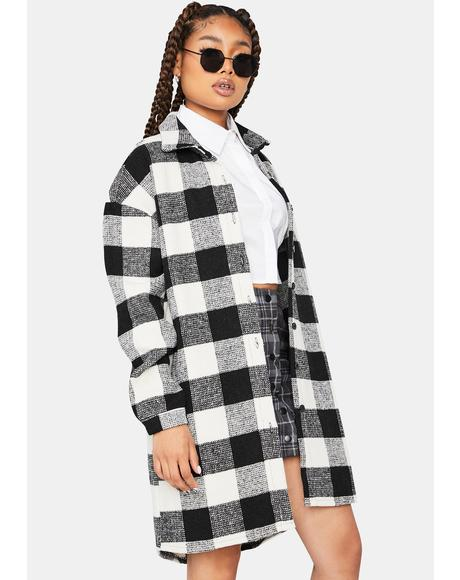 On My Own Plaid Flannel Coat