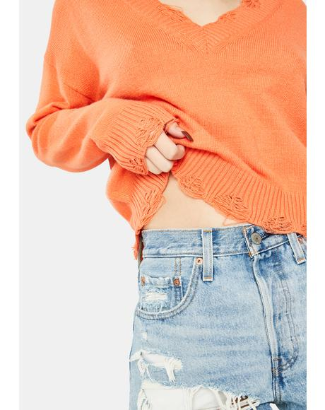Peach Distressed Knit Sweater