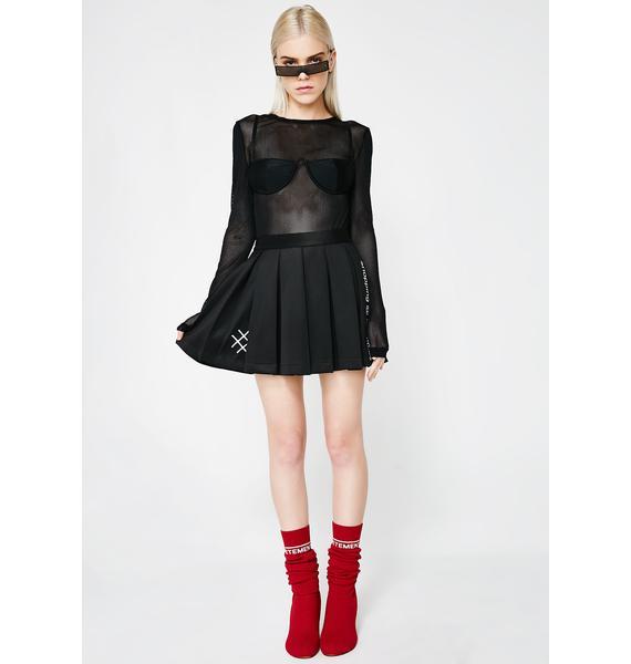 Lucid FC Black Mini Skater Skirt