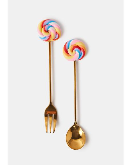 Candy Attitude Spoon And Fork Set