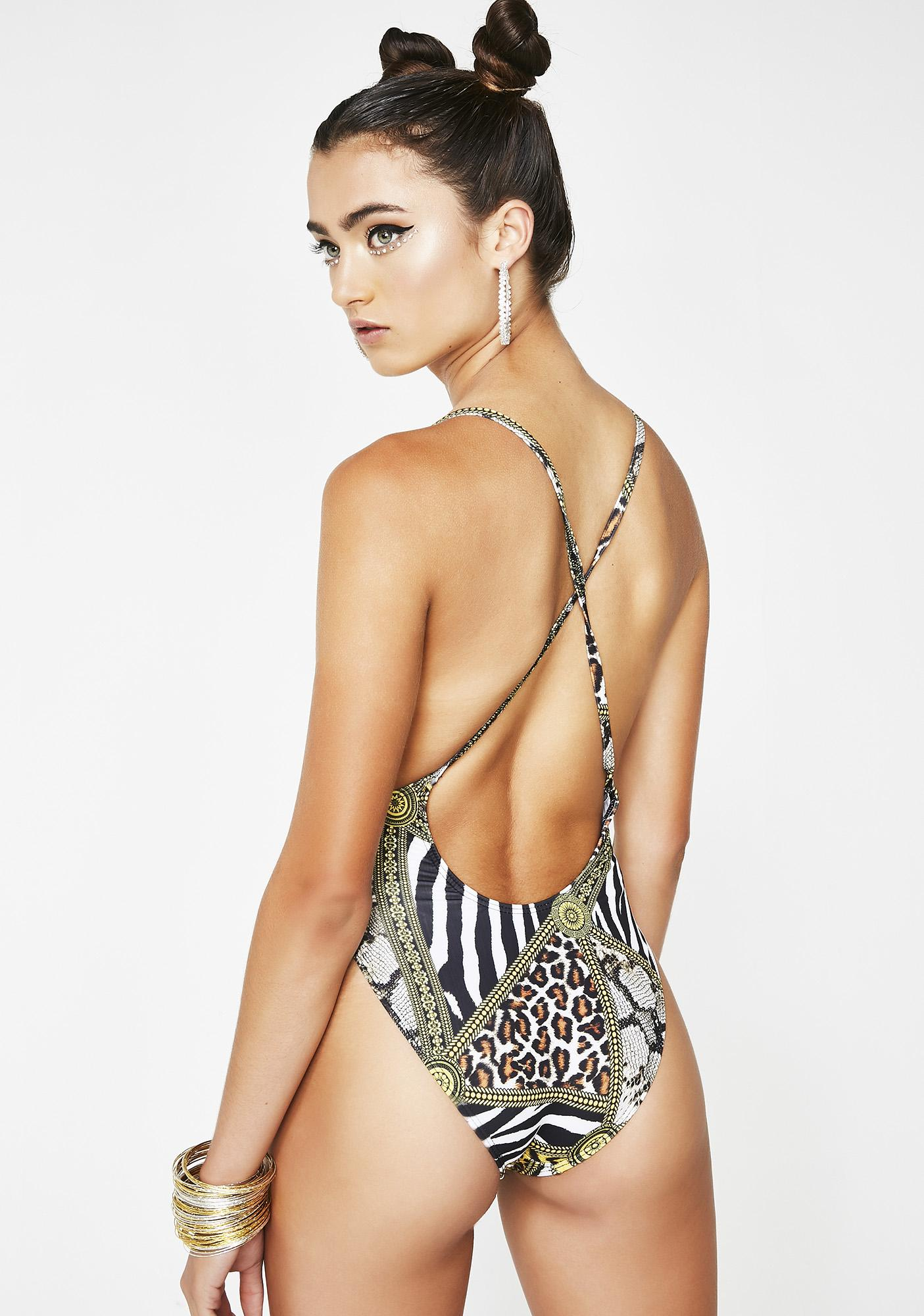 Jaded London Square Neck Swimsuit