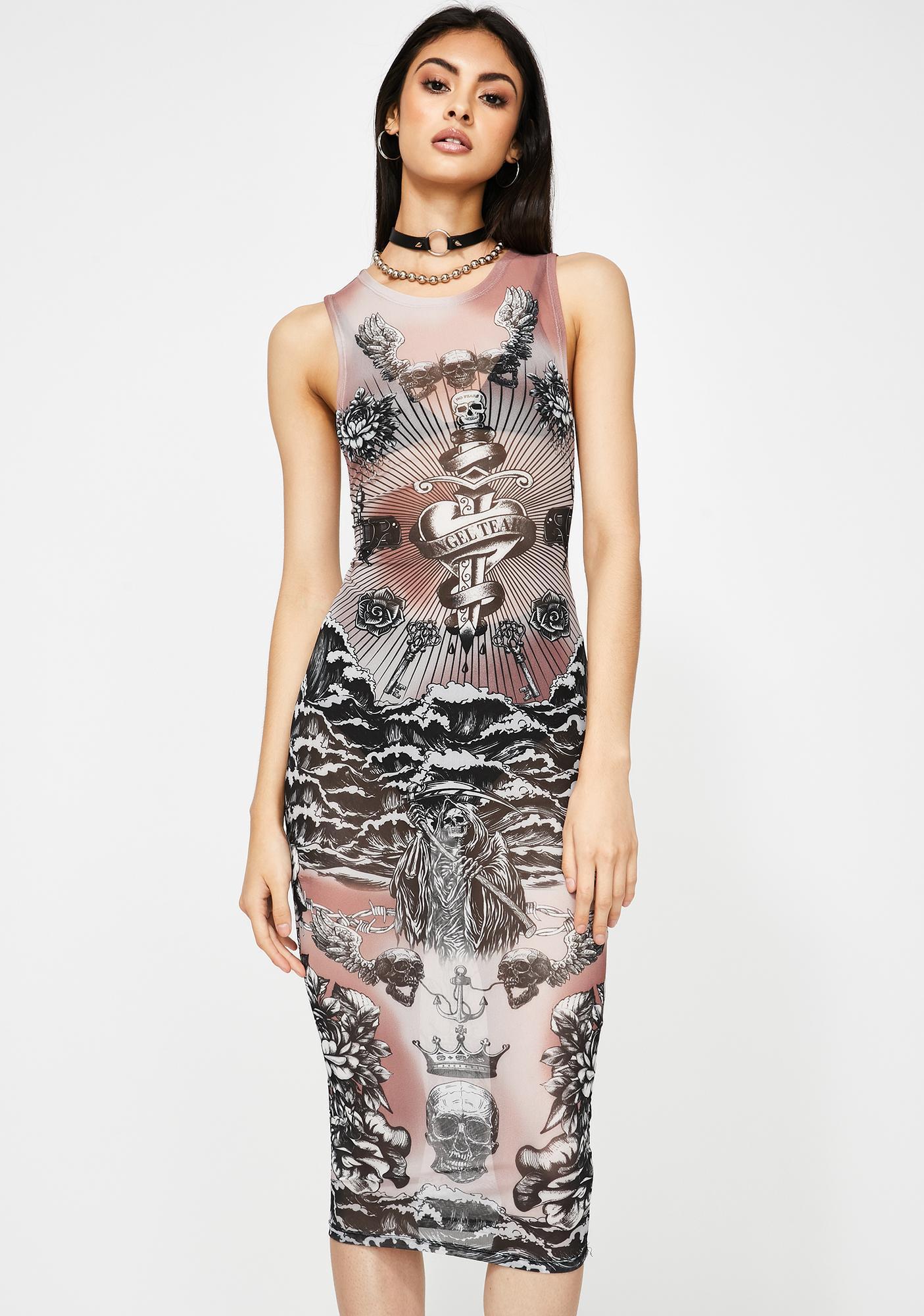 Jaded London Tattoo Print Mesh Midi Dress