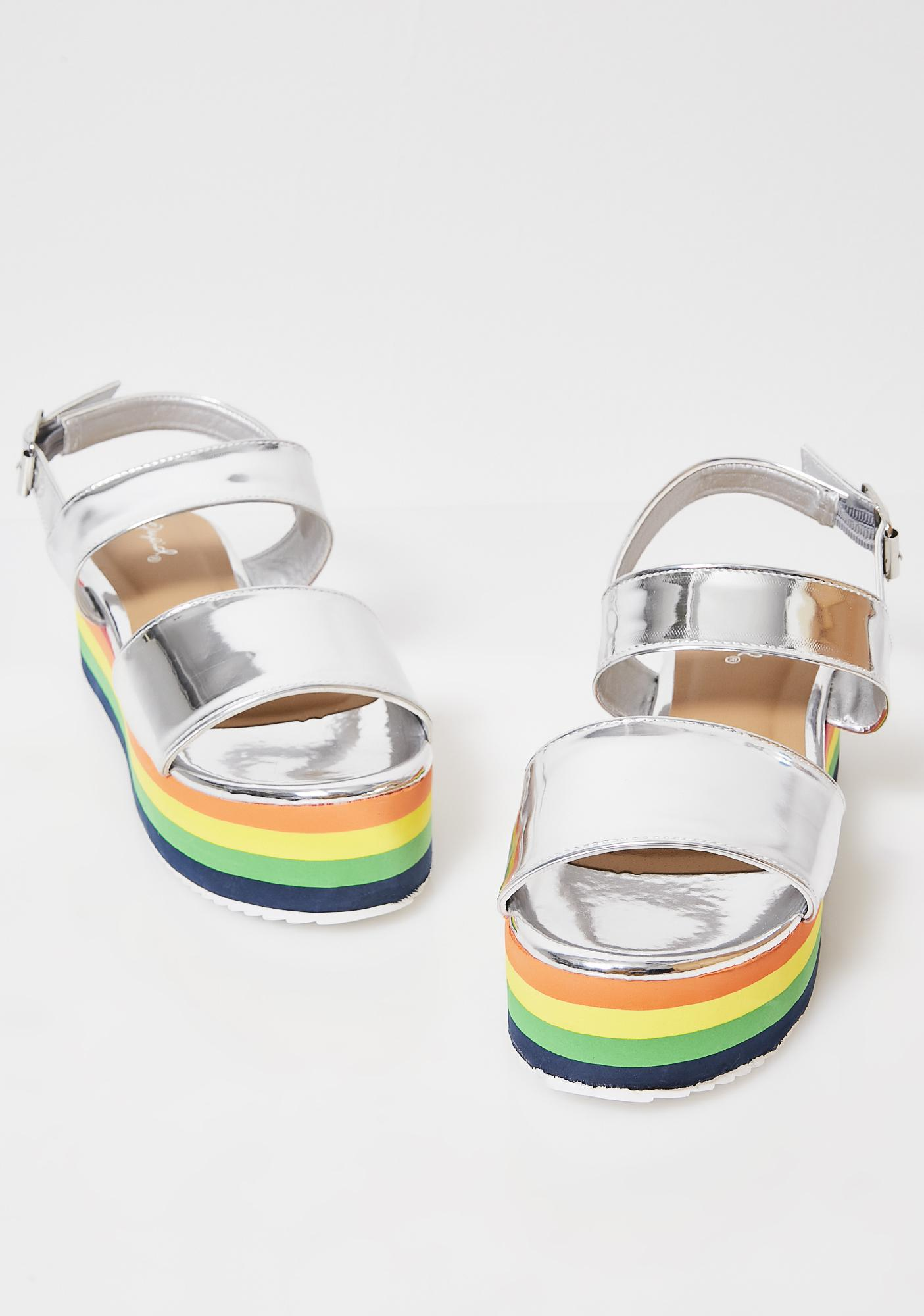 Chrome Bright Sunshine Platform Sandals
