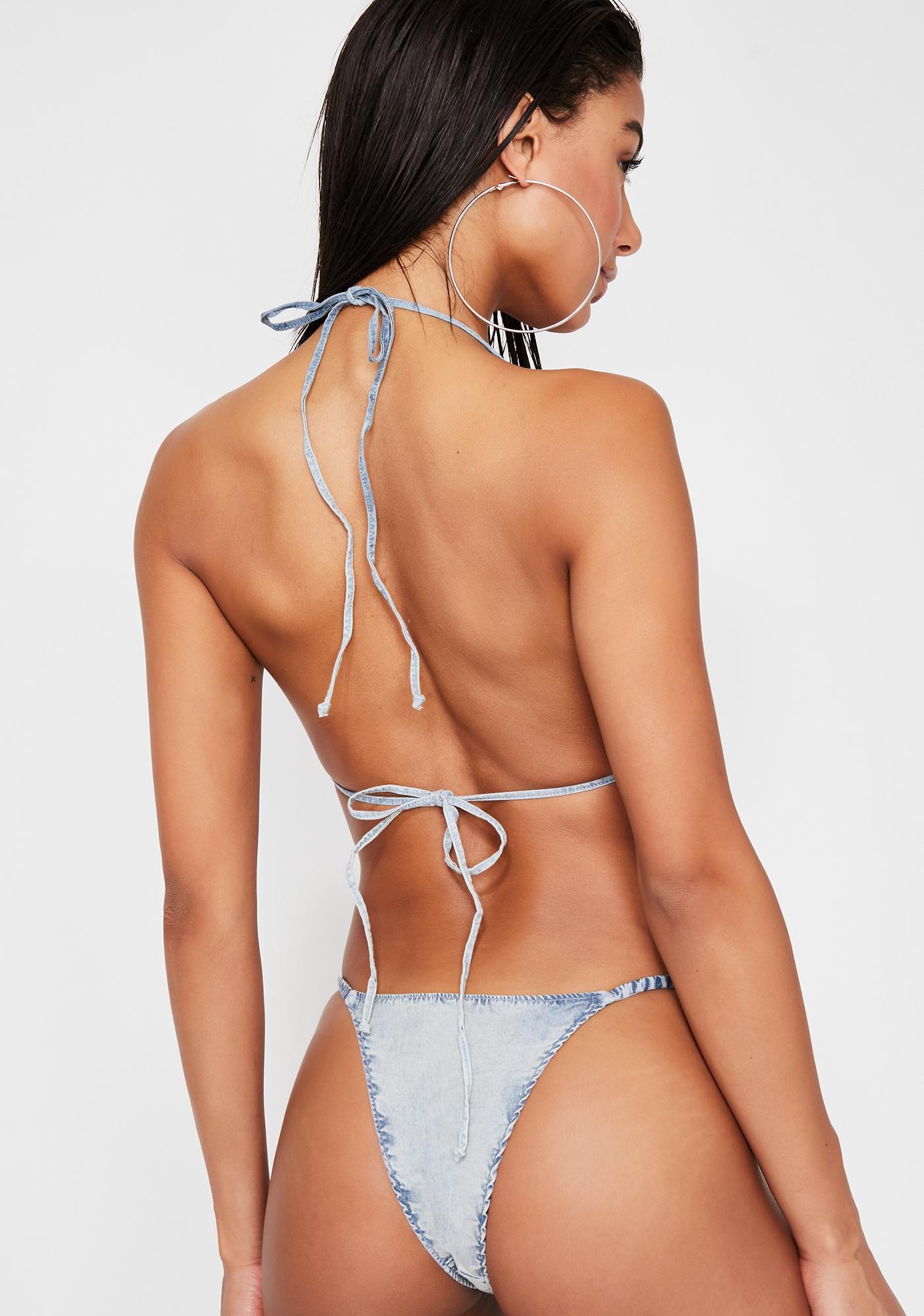 Frankies Bikinis Daisy Denim Bikini Bottoms