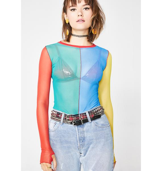 Current Mood Primary Instincts Colorblock Top
