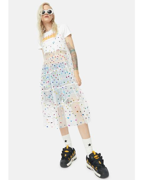 Confetti Queen Mesh Midi Dress