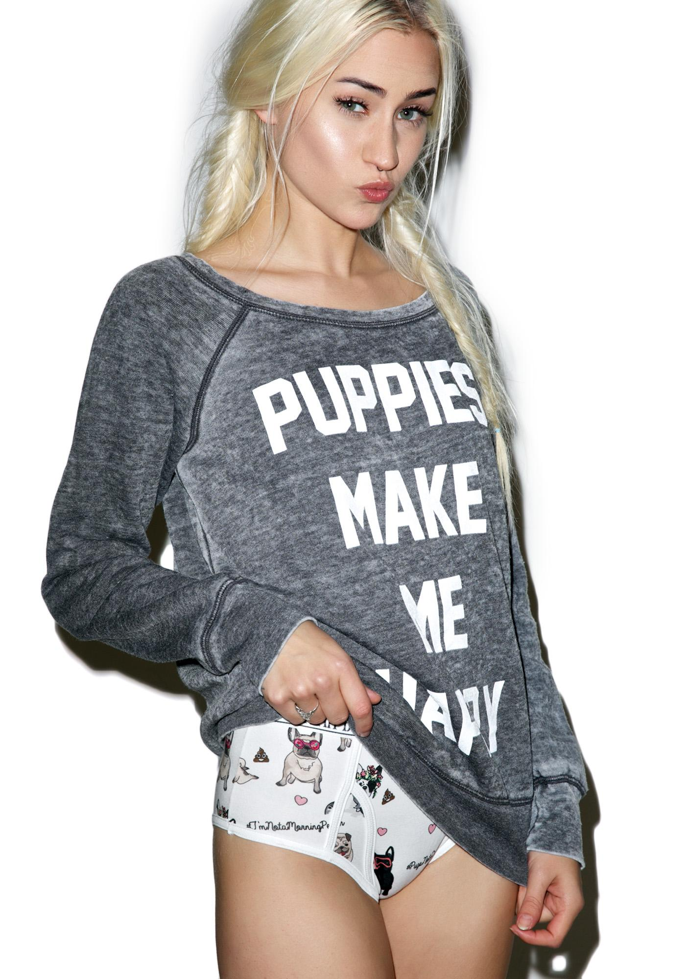 Puppies Make Me Happy Title Acid Wash Sweatshirt