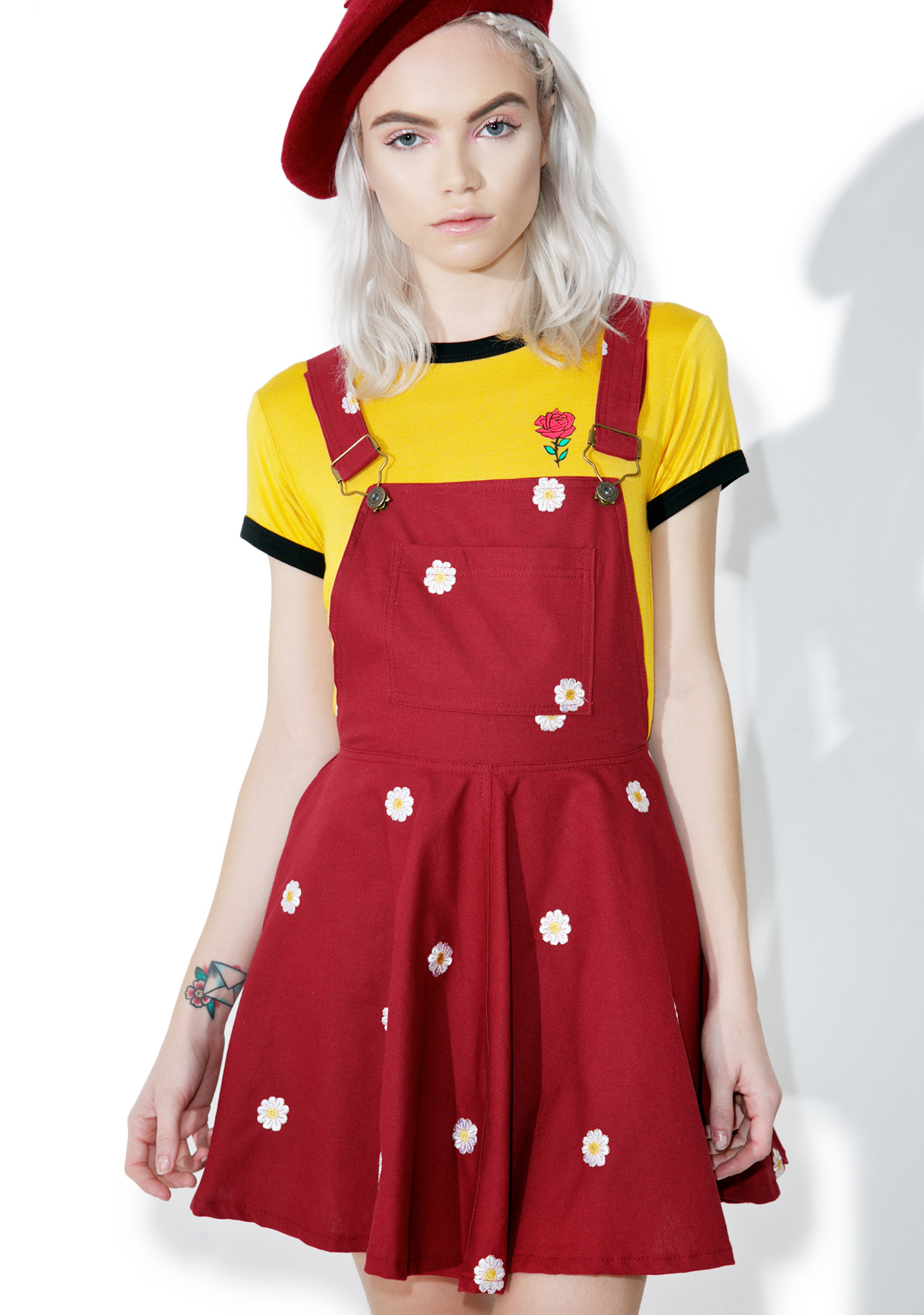 Red Daisy Overall Dress