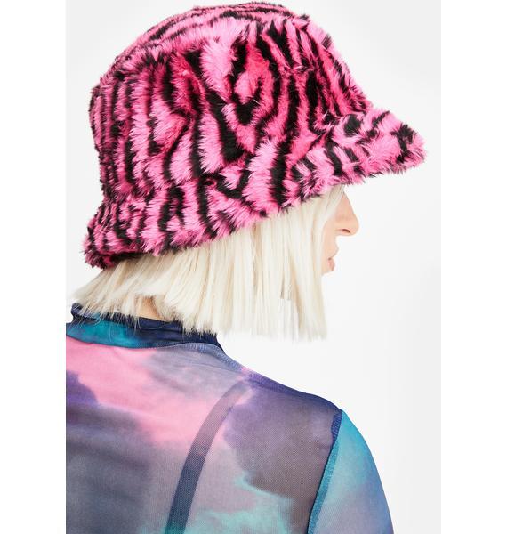 Glitter Disco Child Pink Zebra Print Bucket Hat