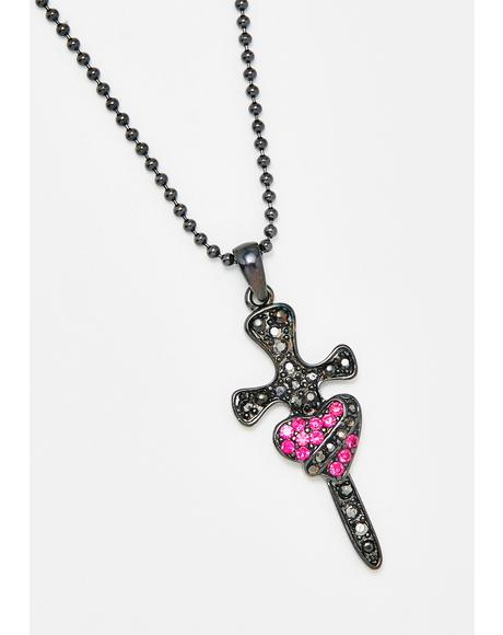 Pierce My Heart Cross Necklace