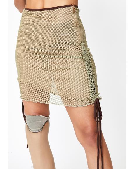 Khaki Ara Mesh Skirt