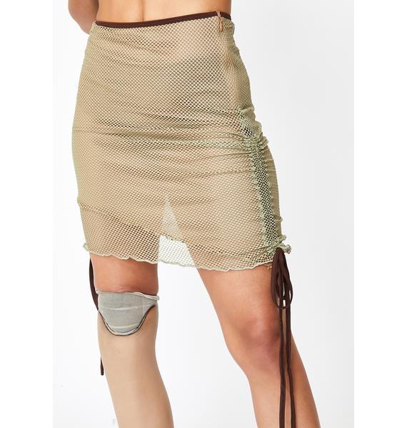 I AM GIA Khaki Ara Mesh Skirt