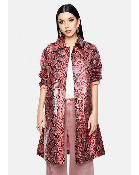 Fluo Pink Maya Snakeskin Trench Coat