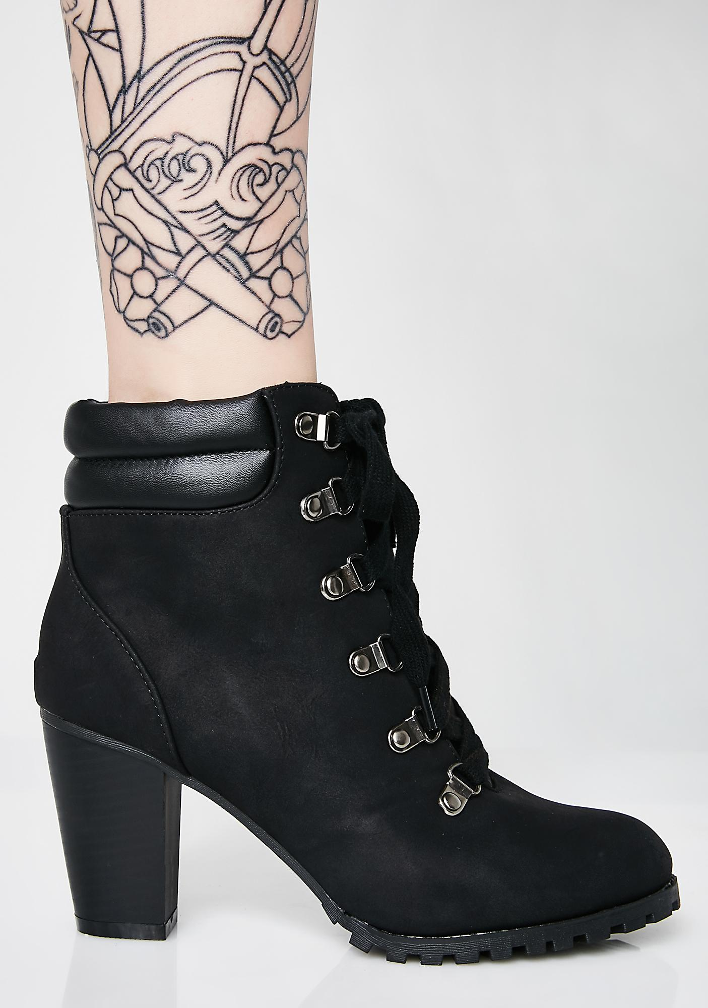 No Drama Here Lace-Up Booties