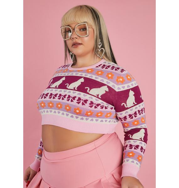 Sugar Thrillz Hey Check Meowt Crop Sweater