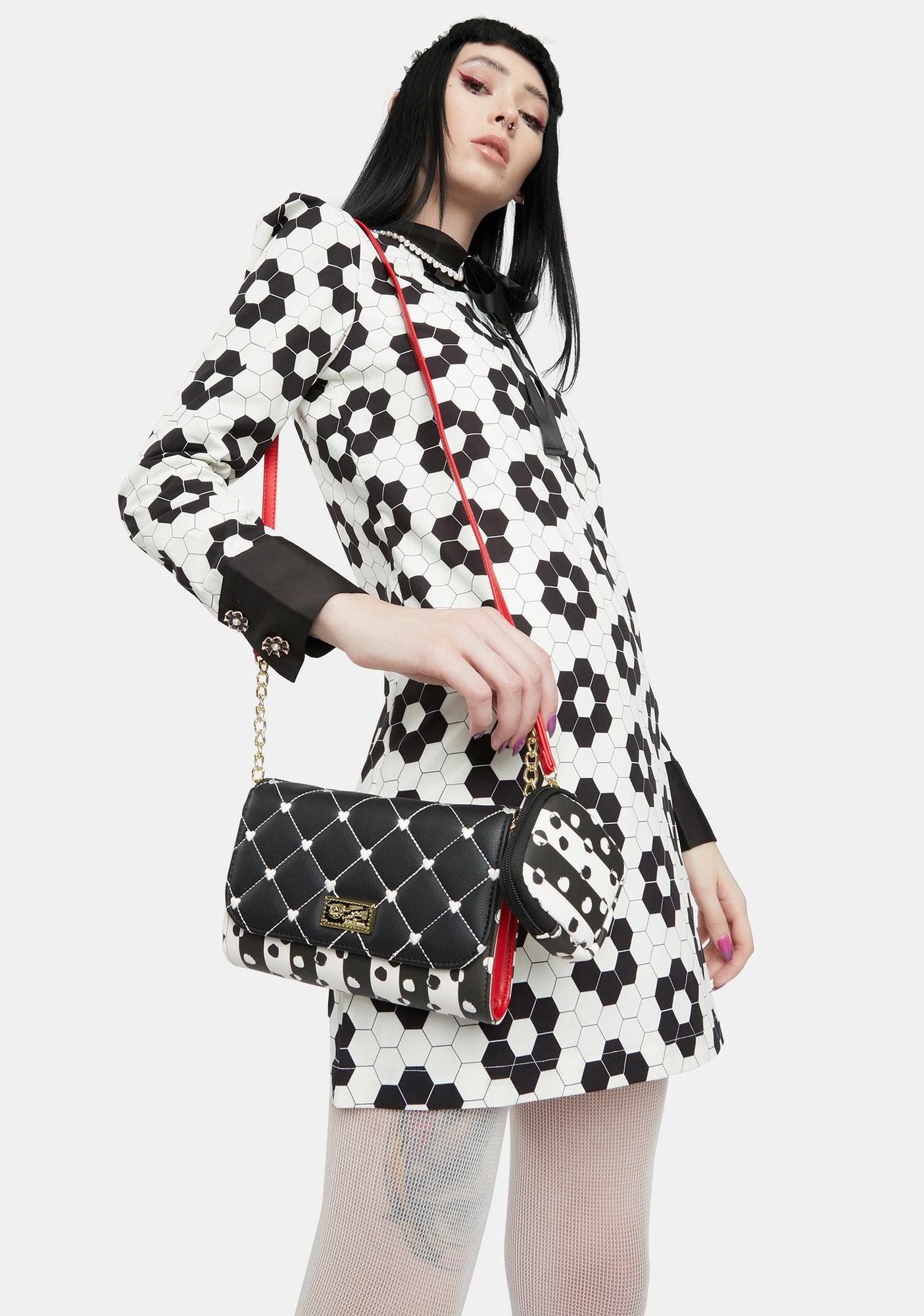 Betsey Johnson Black Quilted PVC Dome Crossbody Bag