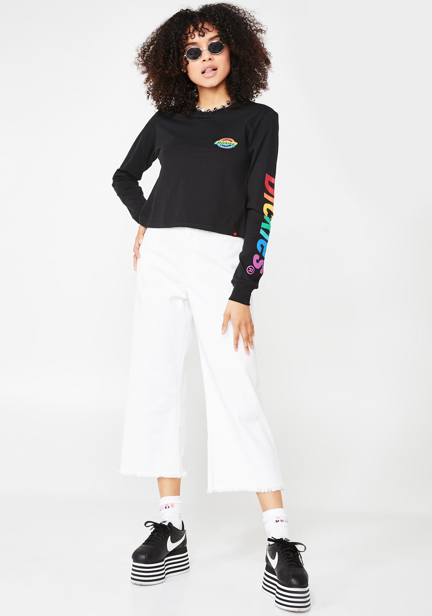 Dickies Girl Long Sleeve Crop Rainbow Tee