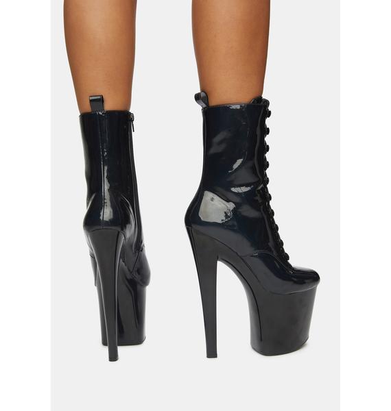XTRA by YRU Mya Black Patent Platform Boots