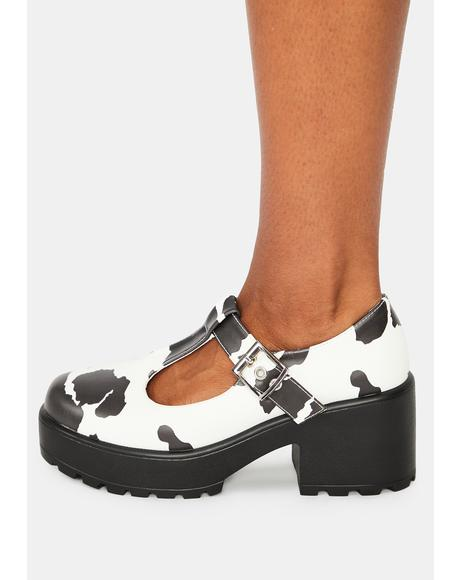 Nettie Cow Print Mary Janes