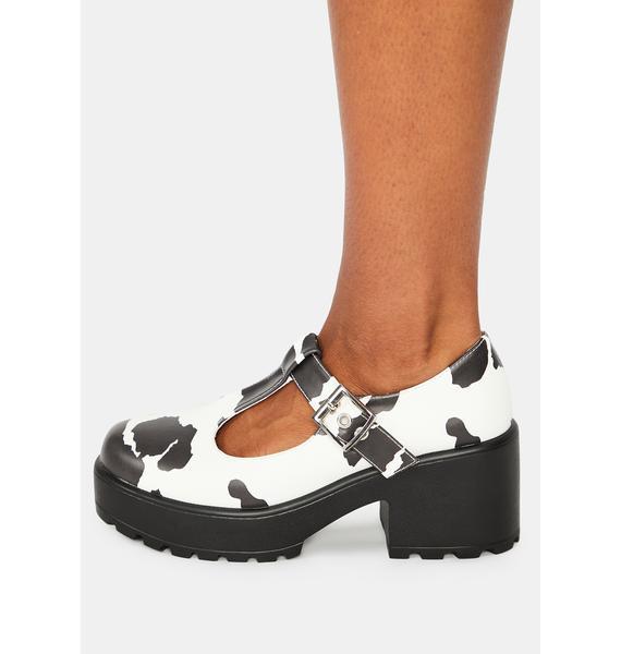 Koi Footwear Nettie Cow Print Mary Janes