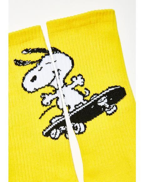 Peanuts Snoopy Skates Crew Socks
