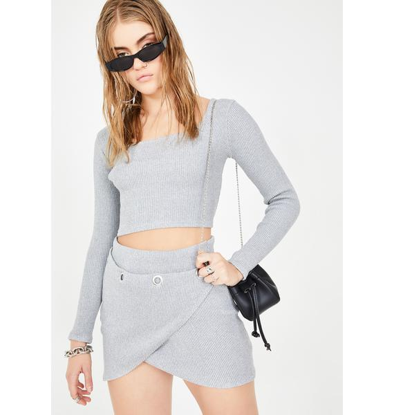 Another Reason Gray Ribbed Crop Top
