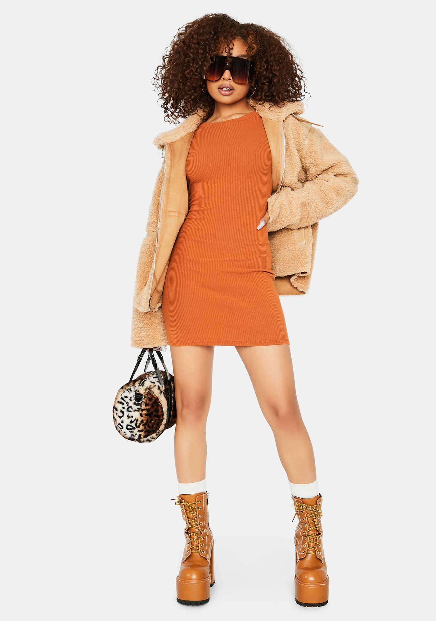Caramel Back 2 Back Long Sleeve Mini Dress