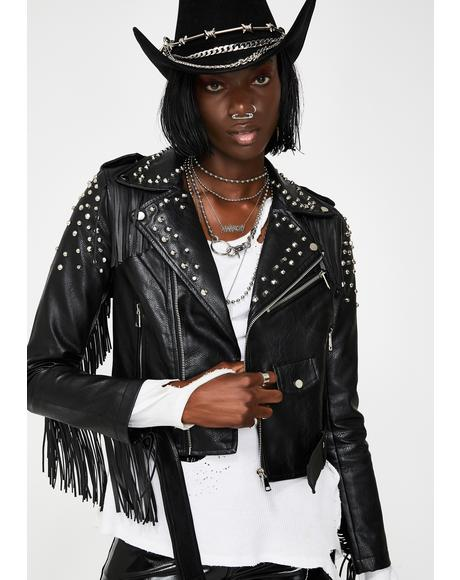 Elissa Fringe Moto Jacket