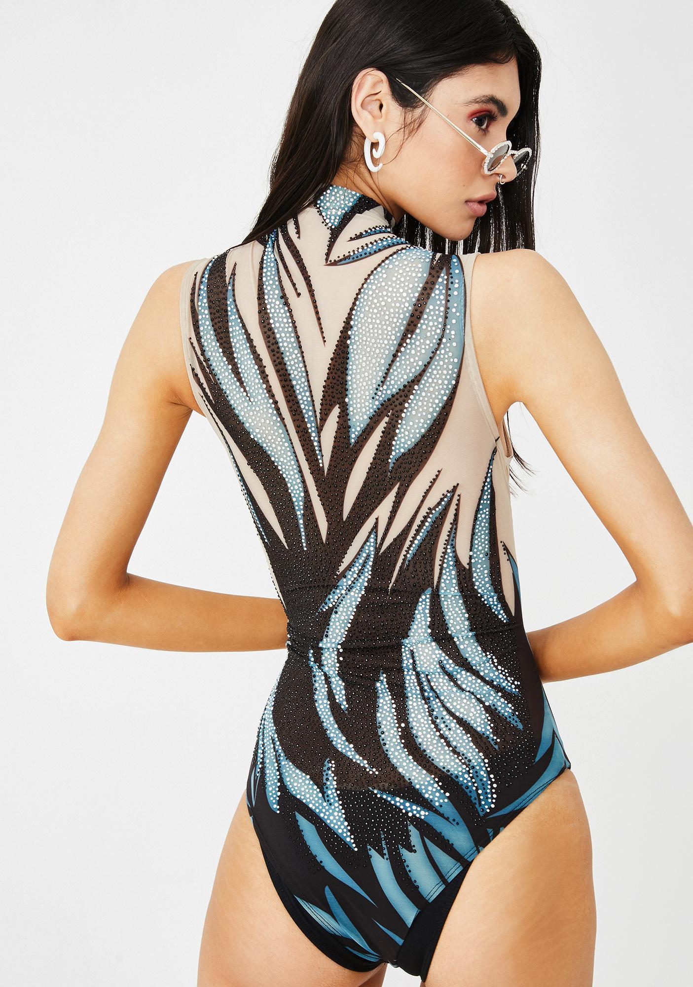 Kiki Riki Feather Duster Rhinestone Bodysuit