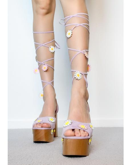 Dreams Of Daisies Lace Up Heels