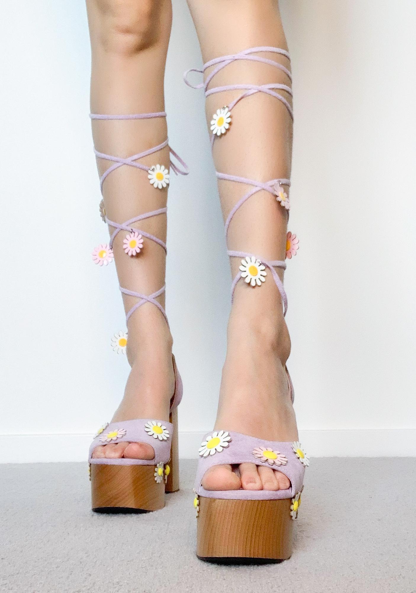 Sugar Thrillz Dreams Of Daisies Lace Up Heels