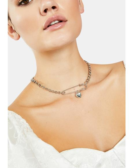 Secret Love Safety Pin Necklace