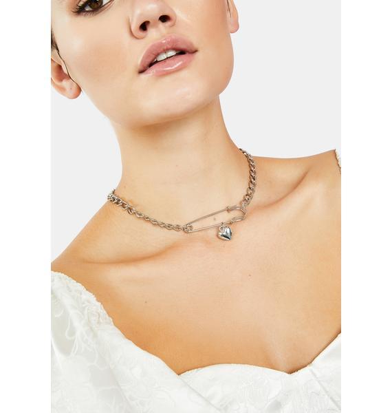 Secret Love Safety Pin Necklace