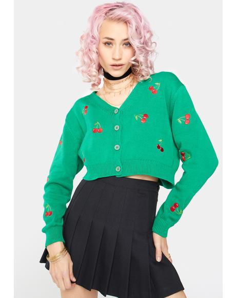 Green Cherry Girl Crop Cardigan