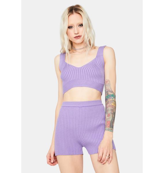 Violet Form And Figure Knit Shorts Set
