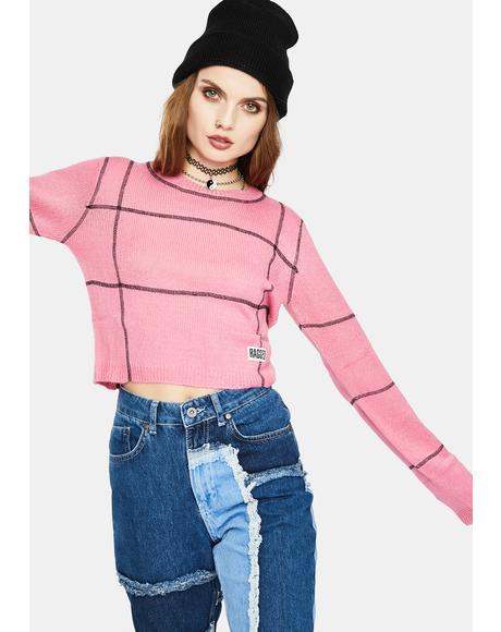 Pink Overlock Panel Sweater Top