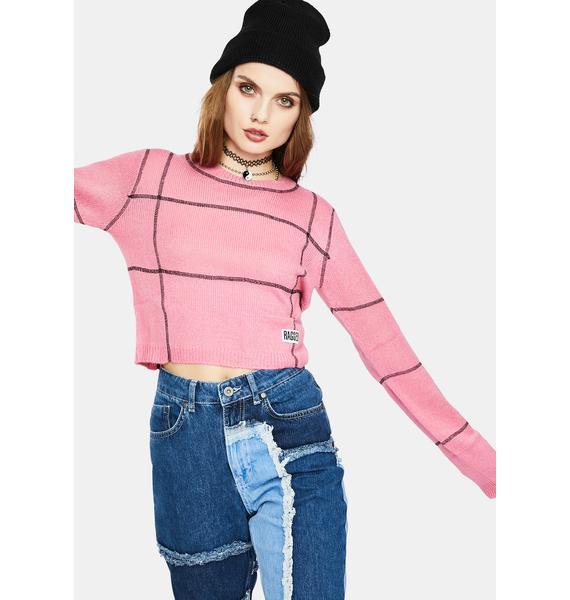 The Ragged Priest Pink Overlock Panel Sweater Top