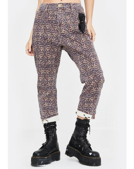 Azteca Leopard Tapered Denim Jeans