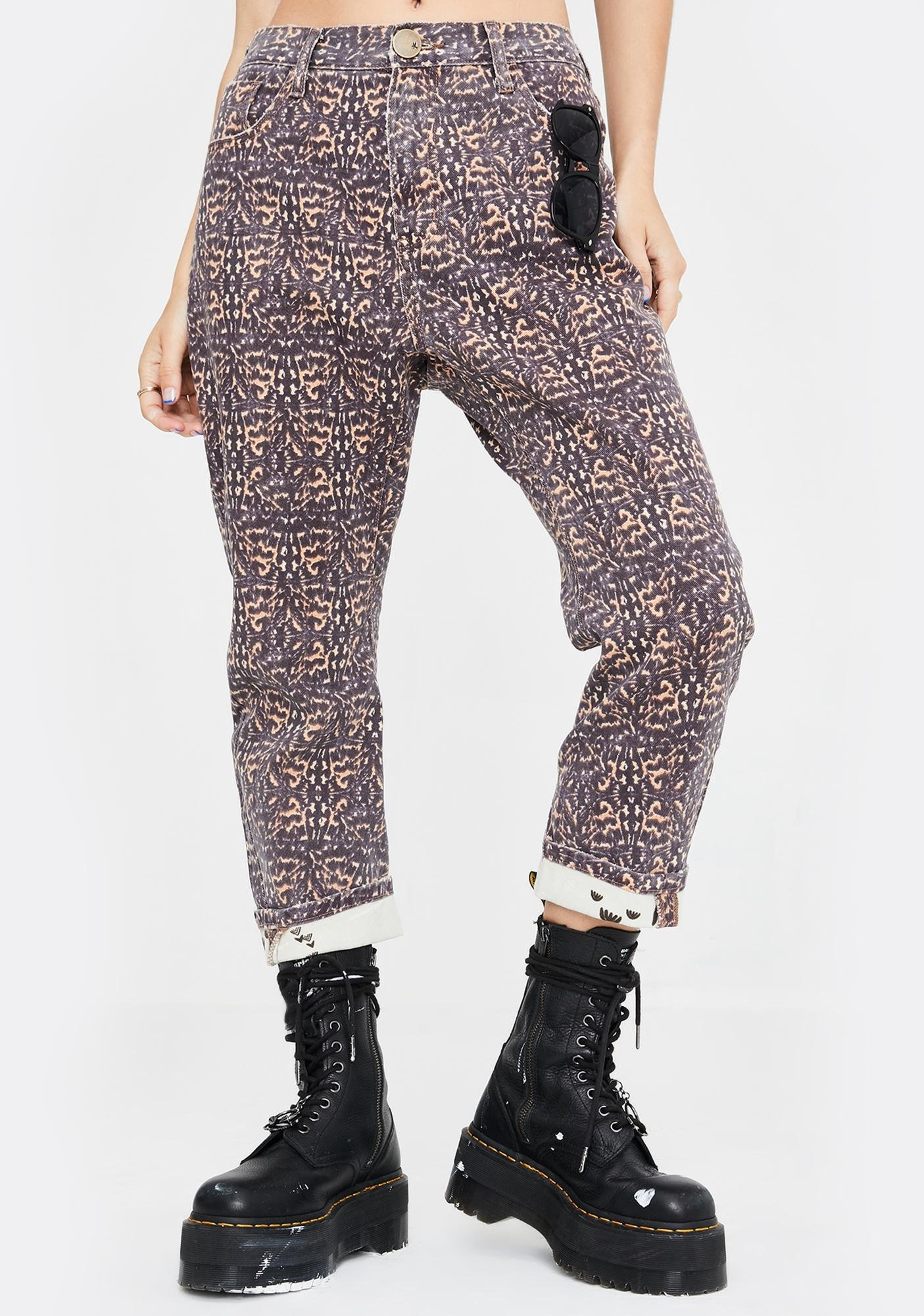 One Teaspoon Azteca Leopard Tapered Denim Jeans